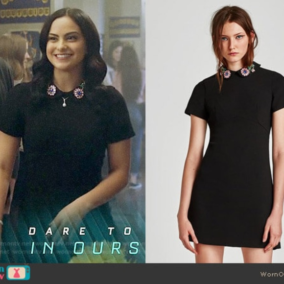 Zara Black dress with bejewelled peter pan collar